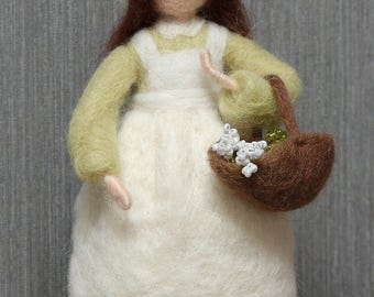 Needle felted standing doll Shepherdess with flowers. Waldorf inspired, made of wool, art doll, home decoration, soft miniature .