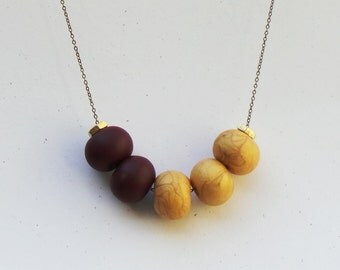 Cinco Necklace: Alizarin Crimson + Jewelry Gold