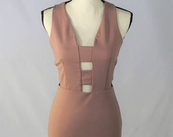 Pink Bodycon Dress with Cut Outs