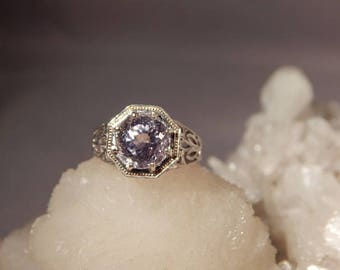 Vintage 1920's Style 2.70 Ct. Round Faceted Kunzite Filigree Sterling Silver Ring