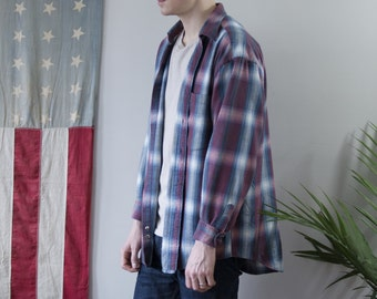 Vintage 1980's American Eagle Outfitter's Plaid Button-up Flannel Shirt