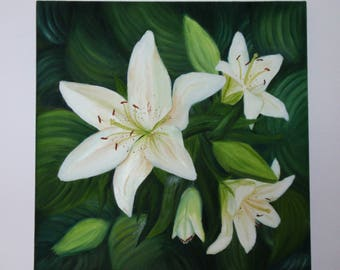 """Original Oil Painting: """"White Lilies"""", Wall Art for Living Room and Interior  as Unique Gift for Mom, Friend or Wedding Present"""