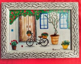 Original watercolor, the casa di Italy