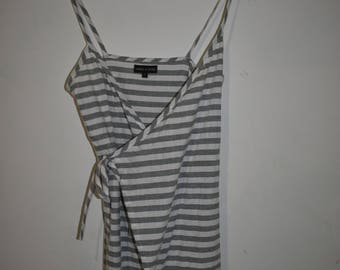 Denim stripe wrap mini dress
