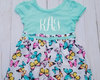 Monogram Toddler Dress, Monogrammed, Personalized Dress, 2T, 4T, Custom Dress, Butterfly Dress,  Spring Dress,  Little Girls Outfit, Blue