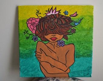 Birds Nest Woman Painting