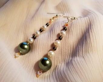 White & Green glass pearl drop earrings