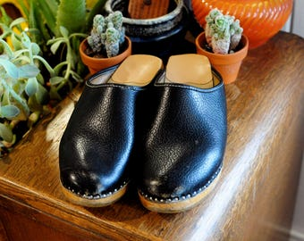 Black Leather Vintage Clogs size 7.5