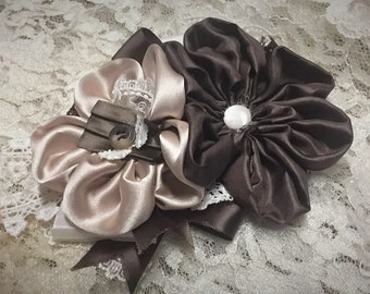 Little Miss Beautiful Flower Pin, Fabric Flower Corsage, Satin Flower Accessory