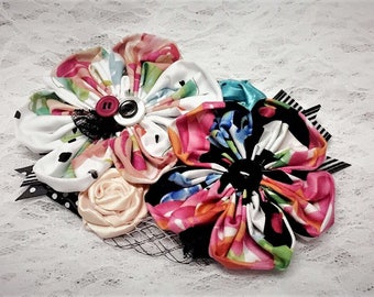 It's Spring Time! Flower Pin, Flower Pin Accessory, Fabric Flower Clip