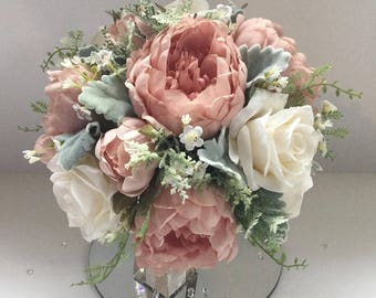 Luxury vintage pink Silk wedding bouquet with Peonies, Roses and Asparagus