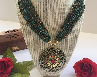 Indian Jewelry - Traditional Antique Gold Plated Beaded Necklace with Circular Pendant  - Boho/Tribal/Statement Necklace