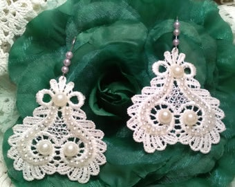 Bridal earrings, lace earrings, party earrings, lady complement, wedding, ceremony, mother's Day