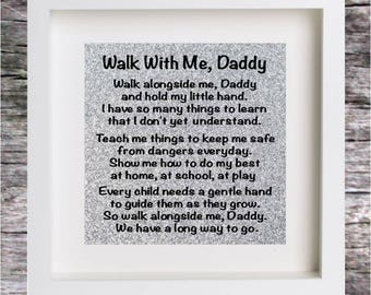 Vinyl Sticker Decal for DIY BOX FRAME Walk with me Daddy Fathers day Birthday Gift (Sticker Only)