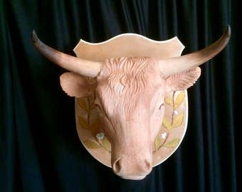 Hand carved Bull Faux Headmount