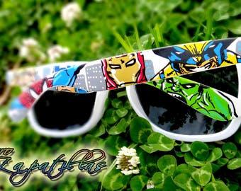 Superhero sunglasses wayfarers handpainted
