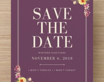 Save the Date for Midterm Elections- A Protest/Resistance Postcard (Medium Size 5x7) - 5 Postcards