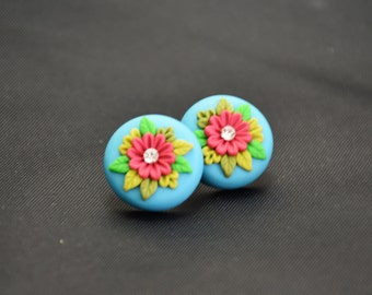 Blue red floral embroidery stud earrings.