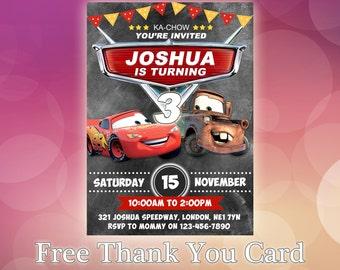 Disney Cars Invitations / Disney Cars Birthday Invitation / Disney Cars Party / Cars Birthday Invitation Card / Cars Invitation / CR11