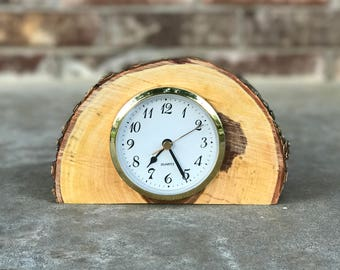 live edge natural bark wood from the tree clock