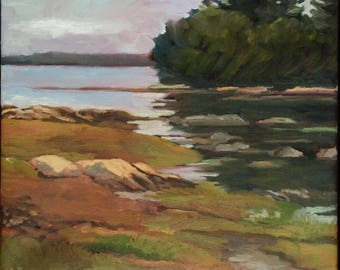 View of Lanes Island, Framed 14x16 Oil painting,  Maine landscape