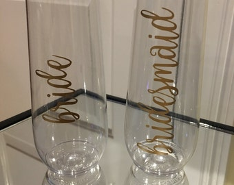 Bride & Bridesmaid Stemless Champagne Glass- Wedding- Wedding Shower- Parties- Bachelorette