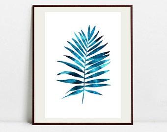 Tropical Leaf Art Botanical Print , Leaf Palm Watercolor Painting, Leaf Blue Illustration, Digital Download Art Print