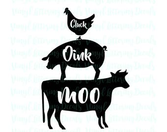 SVG file Cricut Cameo | SVG file download | Cluck Oink Moo graphic file | Chicken Pig Cow digital download | Stencil for painting | Iron on