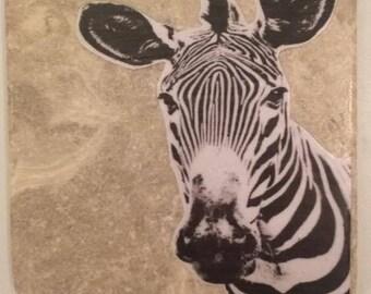 Single Zebra travertine stone coasters- Handmade