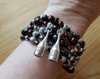 Unique Wine Charm Beaded Bracelet