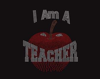 I'm A Teacher Rhinestone Ladies T Shirt or DIY Ion On T Shirt Transfer                                            2C8B