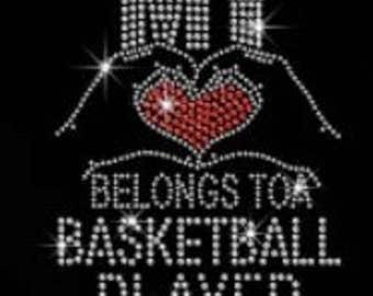 Basketball My Heart Belongs Rhinestone Iron on T Shirt Design                                   Z7IA