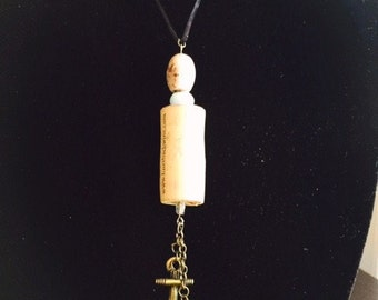 Wine Cork, Anchor and Fish Hook Necklace, 18 Inch