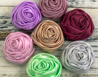 Free Shipping 5cm 20colors Newborn Handmade Rolled Soft Satin Rose Flowers Artifcial Solid DIY Fabric Flowers For Baby Headbands