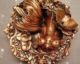 Butterfly Telescope Goldfish Wall Decor - Bronze