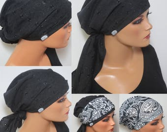 BANDANA without bind + MULTI function cloth breathable ideal as CHEMO hair loss alopecia instead of wig