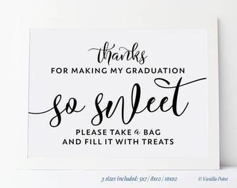 Graduation Thank You Sign, Printable Graduation Favor Sign, Graduation Thank You Favors, Graduation Treat Bags, Graduation Favor Bags Sign