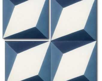 Moroccan geometric blue / white handmade cement encaustic tile