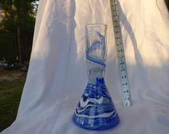 Hand Blown Glass Vase Blue/White