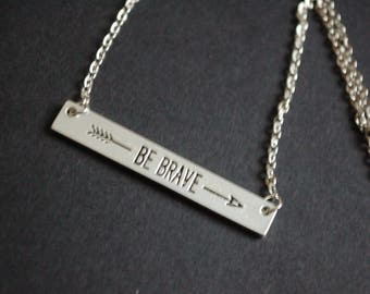 Silver tone Be Brave arrow necklace