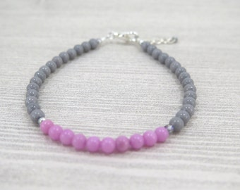 Pink and gray beaded bracelet / pink / gray / light gray / lobster clasp / gift / lifestyle jewelry