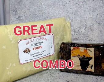 African Black Soap Bar & Shea Butter Bag 1 Lb COMBO