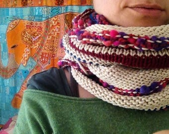 neck warmer scarf boho recycled wool scarf multicolor