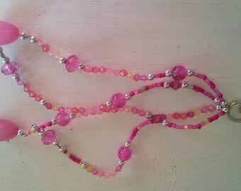 Beaded keyring. Multi stranded. Harndbag charm. Pink clip on keyring. Car mirror charm. Belt chain. Car accessories. Key chain.