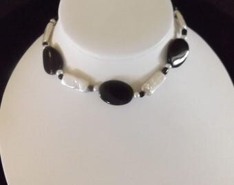 Black and Opalescent White Beaded Necklace