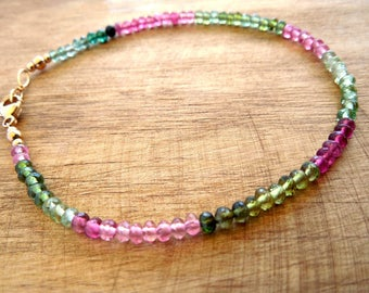 Tourmaline Birthstone Bracelet | October Birthstone Jewelry | Pink And Green Tourmaline Bracelet | Birthday Bracelet Gift For Loved One