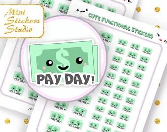 Cute Pay Day! Planner Stickers Printable MAMBI Happy Planner Filofax Erin Condren Kawaii Kikki K Accessories Sticker Silhouette COUPON code