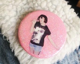 Kathleen Hanna pink glitter button