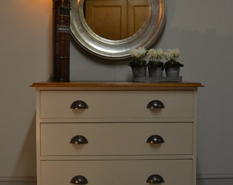 Pale grey and light oak chest with 3 drawers