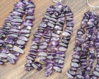 "Amethyst tumbled nugget beads approx 7"" strand - pebble chunk 3 sizes"